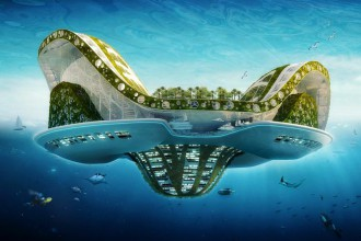 Lilypad by Vincent Callebeaut architects. A floating ecopolis semi submerged view