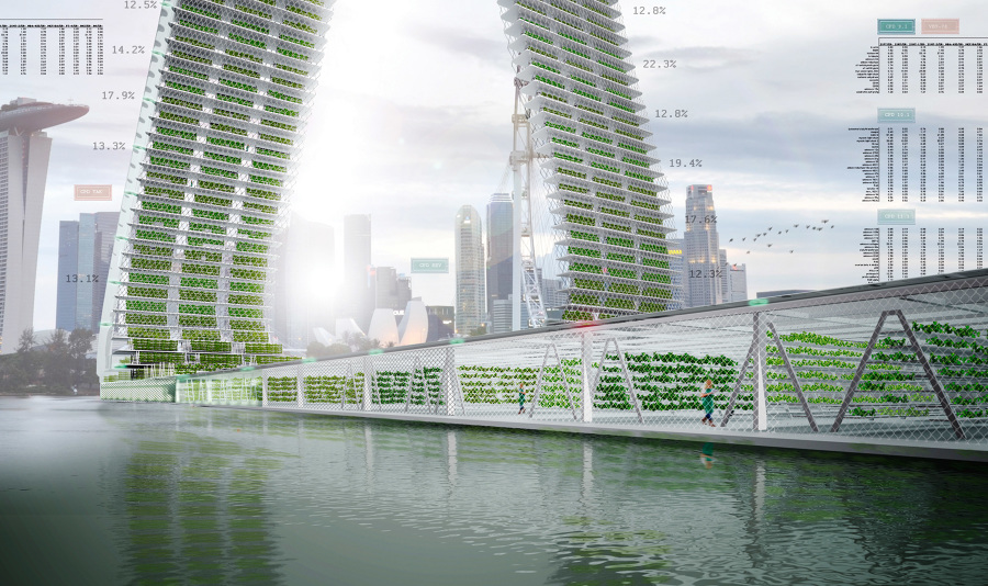Detailed view of the floating responsive vertical farms