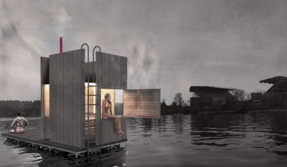 Floating sauna Seattle impression