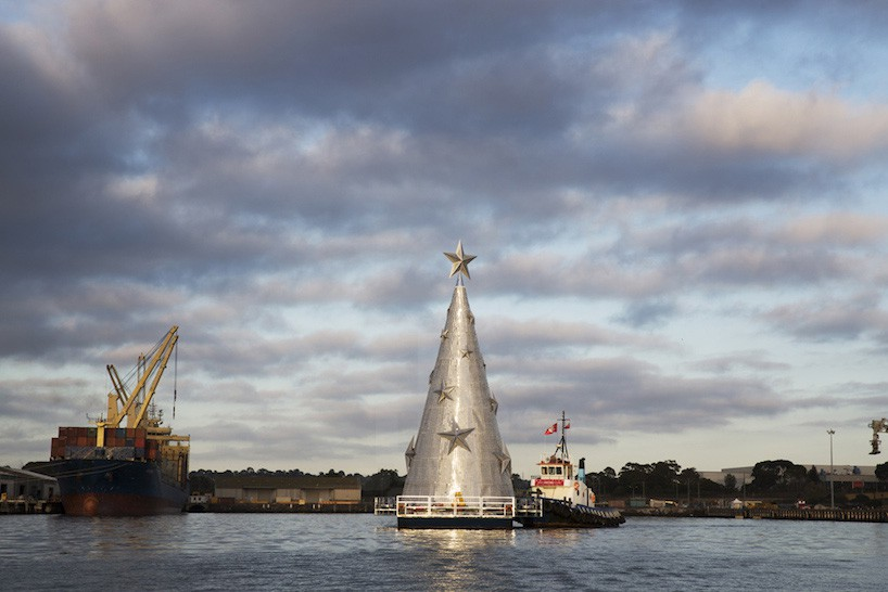 Geelong floating christmas tree Corio bay Australia by day