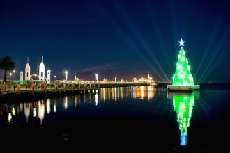 Geelong floating christmas tree Corio bay Australia