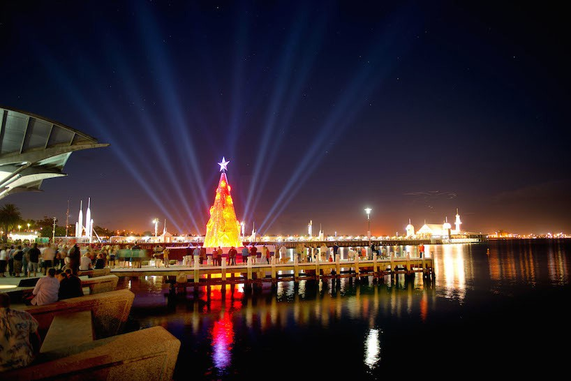 Geelong floating christmas tree Corio bay Australia by night