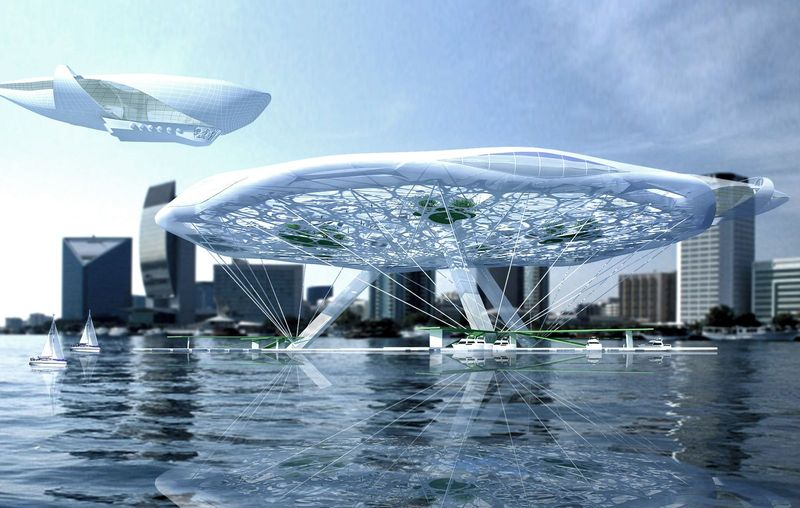 Aerotel hotel concept floating on water and air 01
