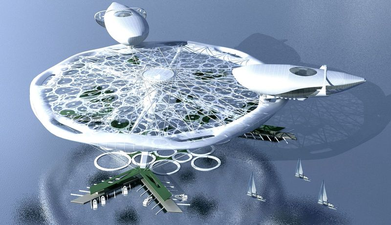 Aerotel hotel concept floating on water and air 05
