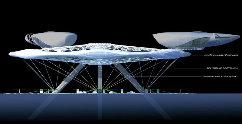 Aerotel hotel concept floating on water and air 06