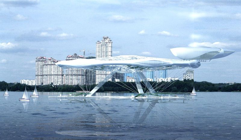 Aerotel hotel concept floating on water and air 07