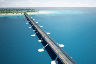 concept floating bridge Maldives overview