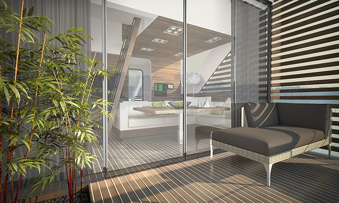 detailed view of floating hotel catamaran apartments