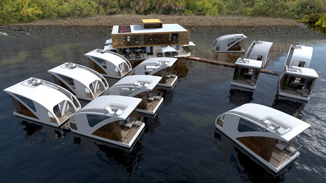 overview of the floating hotel catamaran apartments