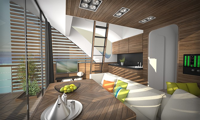 inside view of the floating hotel catamaran apartments
