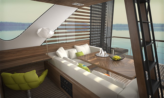 living room is also terras onboard the floating hotel catamaran apartments