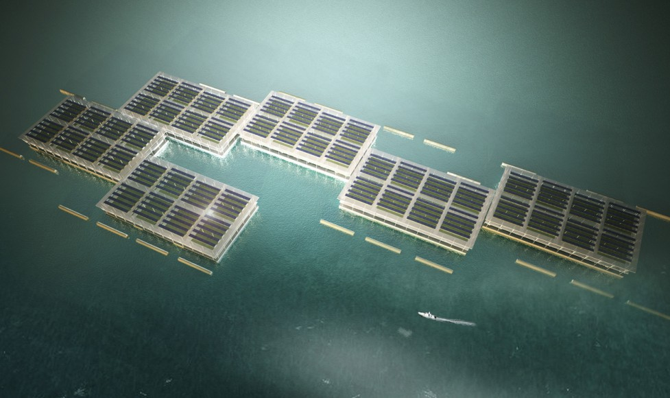 Arial view of Smart Floating Farms by Forward Thinking Architecture
