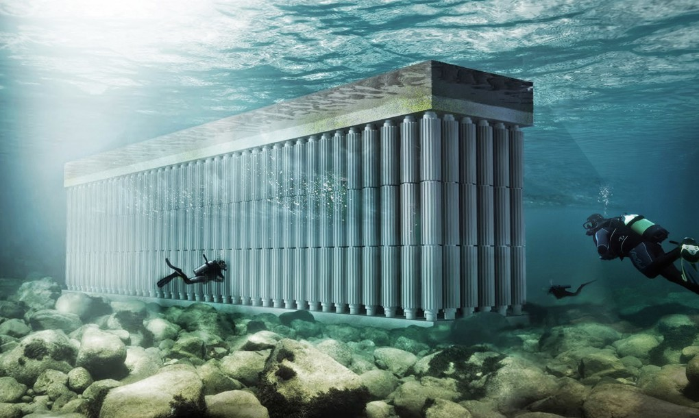 The Parthenon floating Blue energy sea wall waterstudio underwater