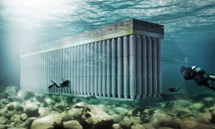 The Parthenon floating Blue energy sea wall waterstudio underwater