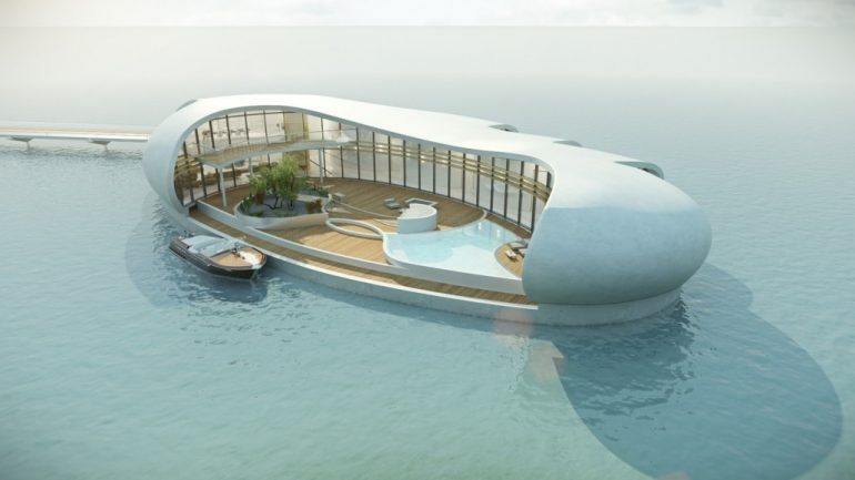 arial view of new living on water residence